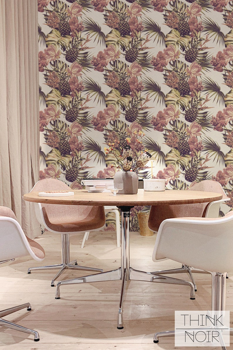 Tropical Removable Wallpaper  Palms Leaves and Pineapple image 0
