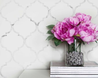 Marble Moroccan Temporary Wallpaper, Moroccan Pattern Regular Wallpaper, White Marble Removable Wallpaper