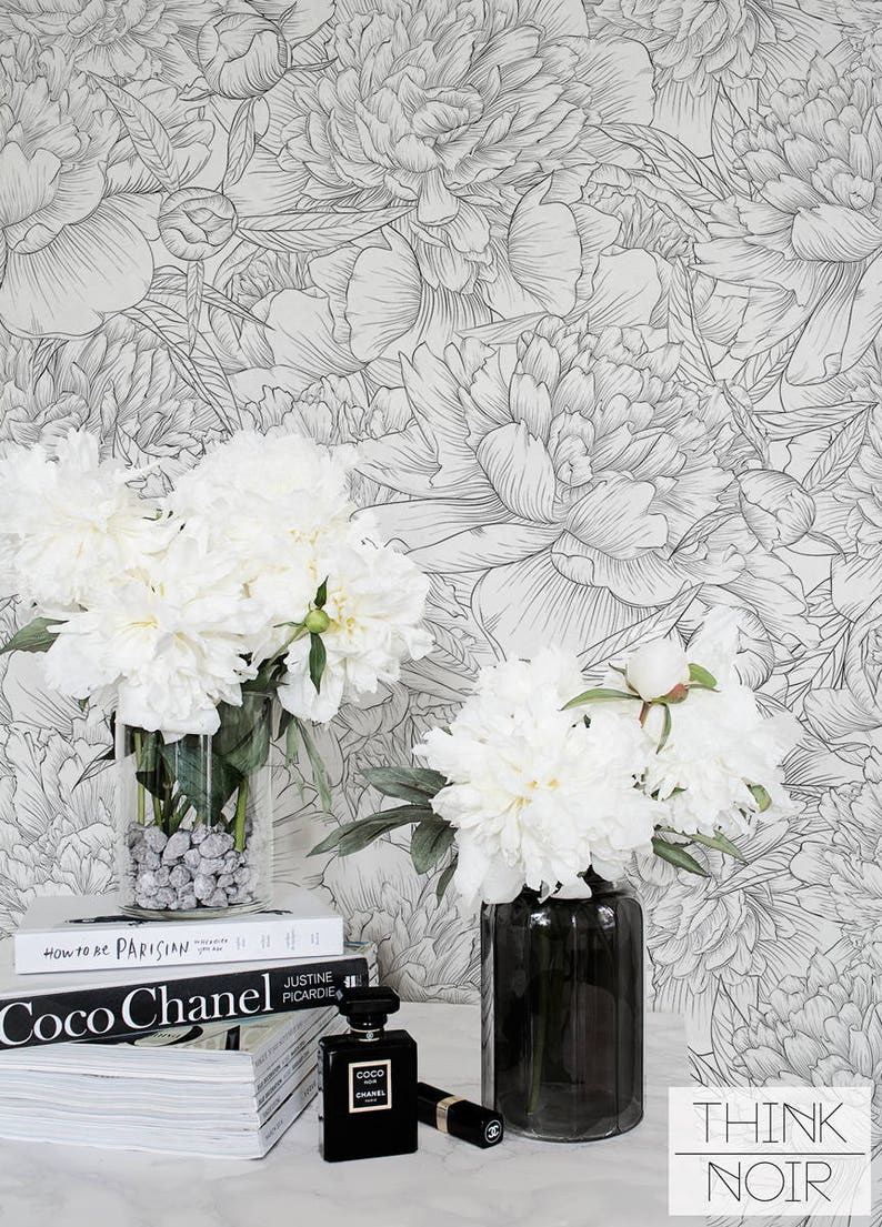 Delicate Peony Self Adhesive Wallpaper Floral Removable Etsy