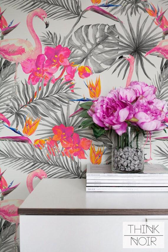 Bright Tropical Wallpaper Self Adhesive Removable And Regular Wallpaper Flamingo Wall Mural Tropical Print Wallpaper