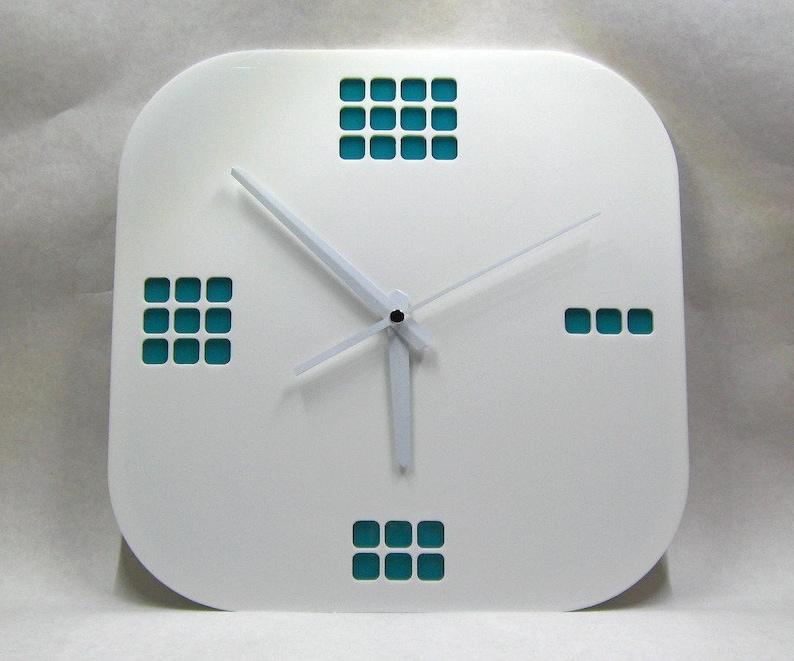 Modern Wall Clock 01 Acrylic Clock Made In Usa White Clock Etsy