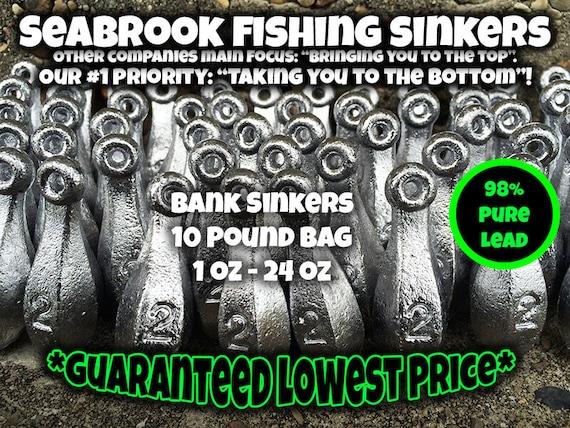 Fishing Weights 24 Bank Sinkers 16oz,12oz,10oz,6oz,5oz,4oz,3oz,2oz 3 of Each