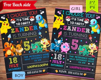 Pokemon Invitation Party Birthday Girl Boy GO Theme Printables