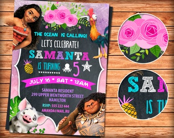Moana Invitation, Moana Party, Girl Moana Invitation, Moana Birthday Invitation, Pink Moana Invitation, Moana Invite Printable