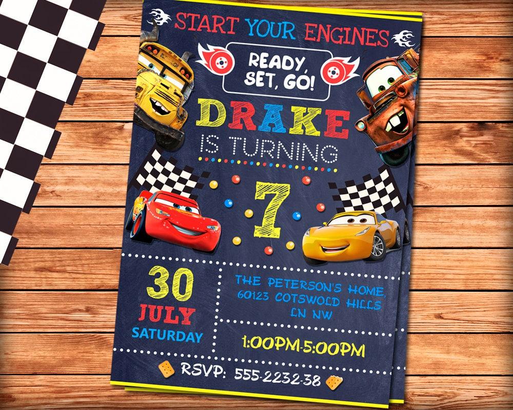 Cars Invitation Birthday 3