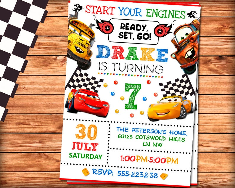 Cars 3 Birthday Invitation Cars Invitation Cars Birthday Etsy