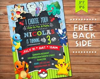 Pokemon invitations Etsy