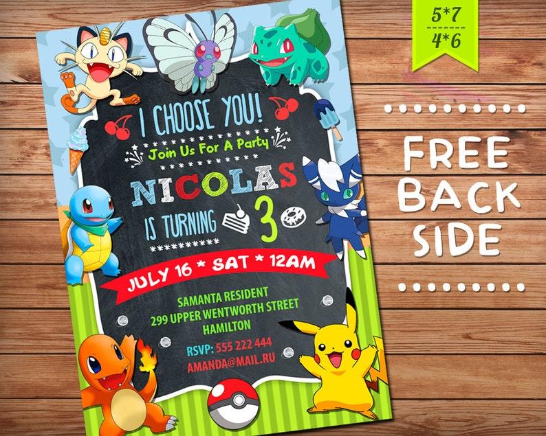 Pokemon Invitation Birthday Party Girl Boy GO Theme Printables