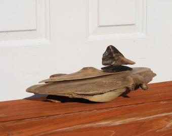 Driftwood Sculpture - Merganser in Water - Beautiful Natural Driftwood Art