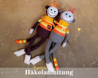 """Häkelanleitung """"Schlenker-Affe Bolubo"""" / Amigurumi, süßes Äffchen, Häkeltier zum Selbermachen / digitales PDF-Format, Download, DEUTSCH"""