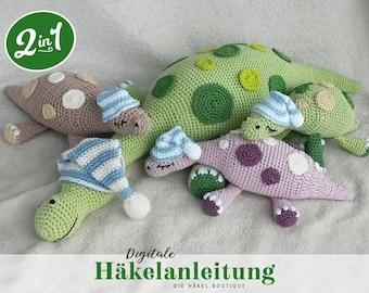 """Häkelanleitung """"Schlummerdino-Familie"""" 2-in-1 Sparpaket / Amigurumi, Dino, Häkeltier, DIY / digitales PDF-Format, Download, DEUTSCH"""