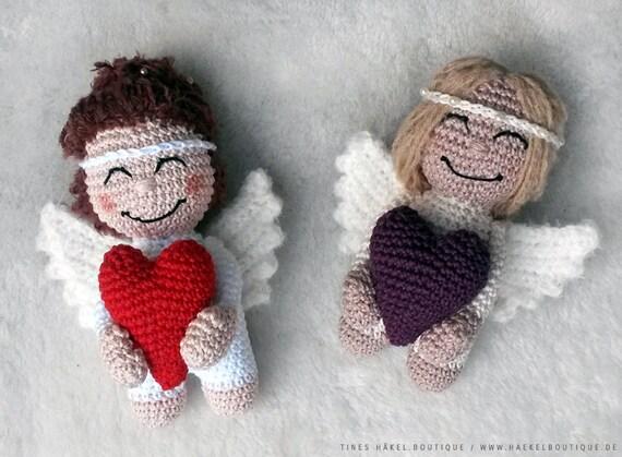 Häkelanleitung Für Kleinen Engel Mit Herz Amigurumi Häkeln Etsy