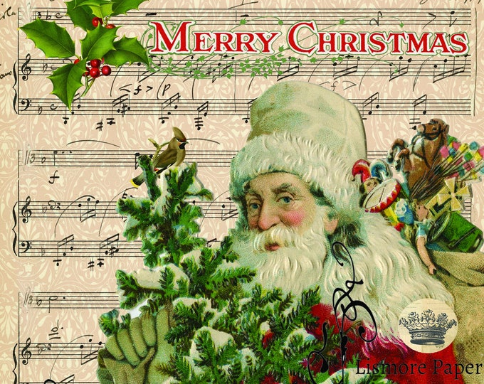 Vintage Santa Claus, Ephemera, Merry Christmas, Music Paper, Wall art, Scrapbooking, Craft Paper, Digital Art, Christmas Print
