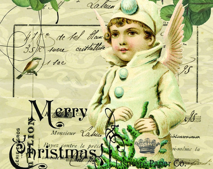 Vintage Angel, Ephemera, Merry Christmas, Wall art, Scrapbooking, Craft Paper, Digital Art, Christmas Print, Bird, Berry,