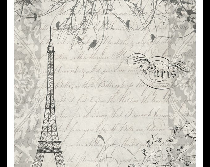 Printable Journal Page, Digital Paper, Scrapbooking, Craft, Eiffel Tower, Paris, Birds, Script, Wall Art, Digital Collage Sheet, JPEG