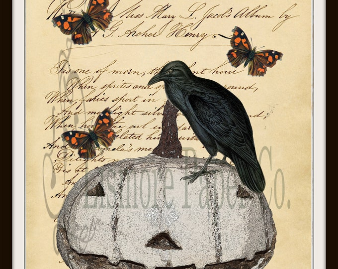 Vintage Hallloween Folk Art - Digital Download Printable Image - Paper Crafts Scrapbook Altered Clip Art - Halloween Crow Pumpkin Butterfly