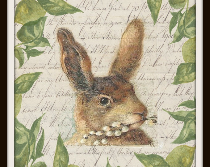 Easter Rabbit Spring Greens Printable Instant Download Vintage Transfer Fabric digital collage sheet printable wall art graphic script