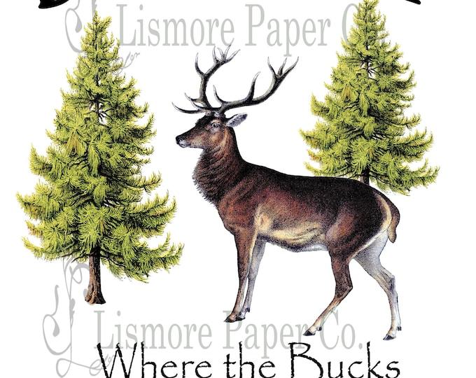 Instant Download, Deer Camp, Deer Camp Sign, Illustrated Deer, Hunting Gift, Man Cave Art, Deer Print, Nature Print, PNG, JPEG,