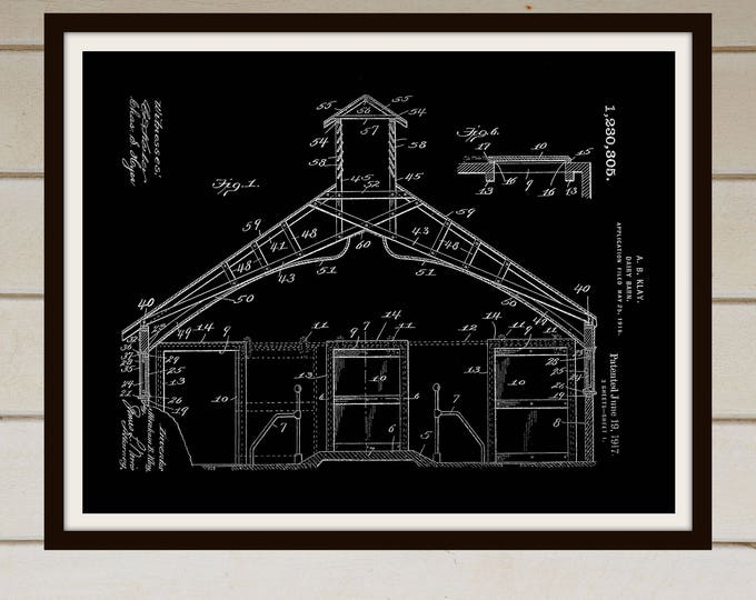 Dairy Barn Patent Prints - Farm Printable - Farmhouse - Instant Download - Farm Printable - Farm Decor - Farmhouse Style - Patent Print -