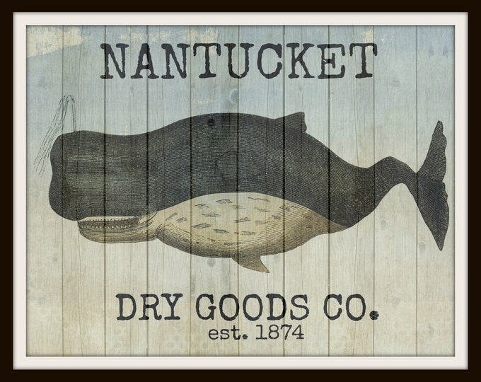 Whale Nantucket Sign Printable Instant Download Vintage Transfer Fabric digital collage sheet printable instant wall art graphic print