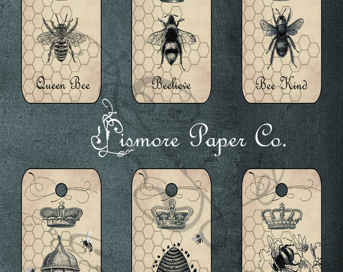 Gift Tags, Instant Download, ephemera tags, queen bee, crown, Vintage, Digital, Graphics, Craft Tags, French, Garden Party, Printable Tags
