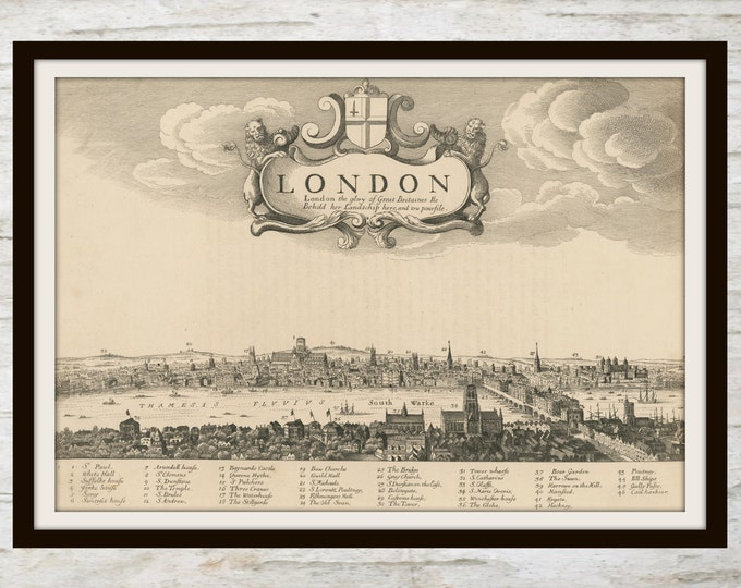 Vintage Map of London, Instant Download, Pen and Ink, Black and White, English Landscape, London, England, Map, Printable Wall Art, JPEG