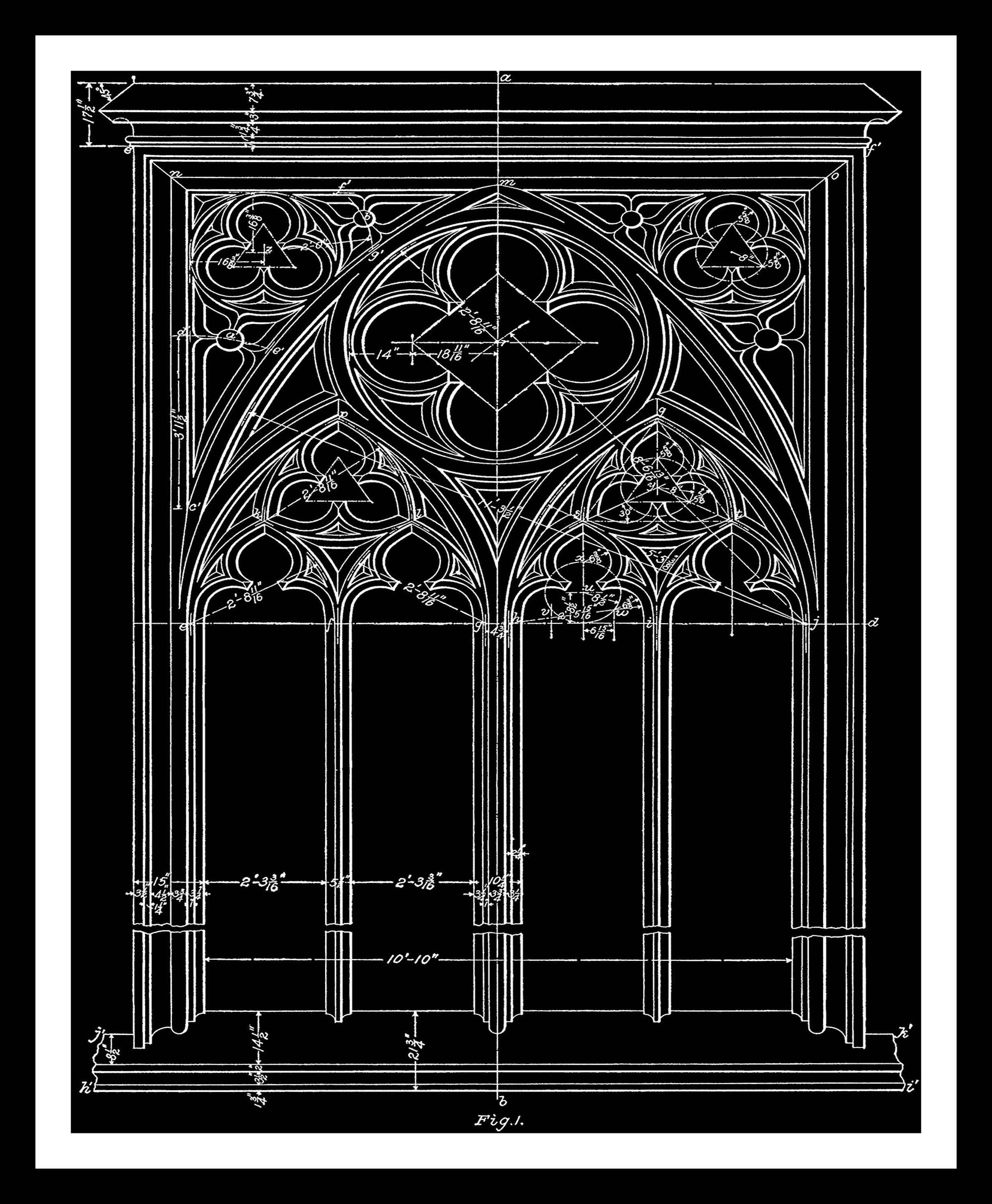 Window blueprint in black architecture gothic architectural wall window blueprint in black architecture gothic architectural wall decor window drawing architectural print craft art instant download malvernweather Images