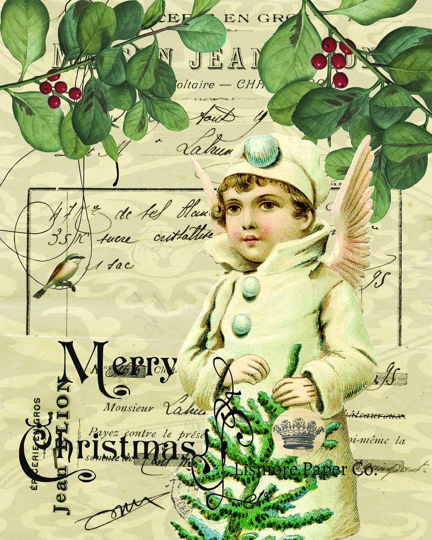 Vintage Angel, Ephemera, Merry Christmas, Wall art, Scrapbooking ...