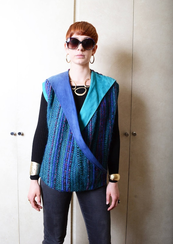 Vintage 1980's Multicolored, Suede and Wool Vest