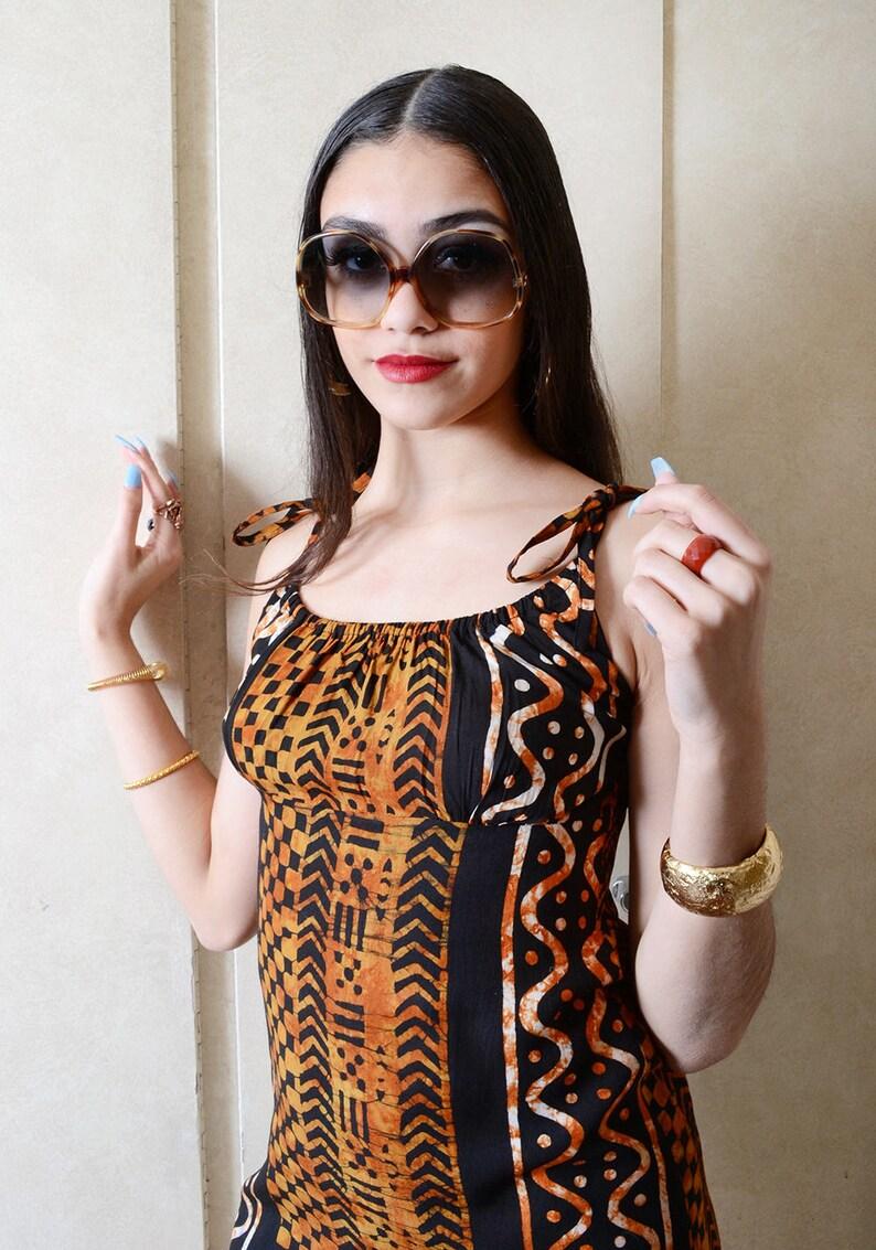 Vintage Black /& Brown Jungle Print Dress