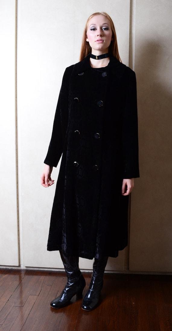 Vintage Black Velvet Evening Coat