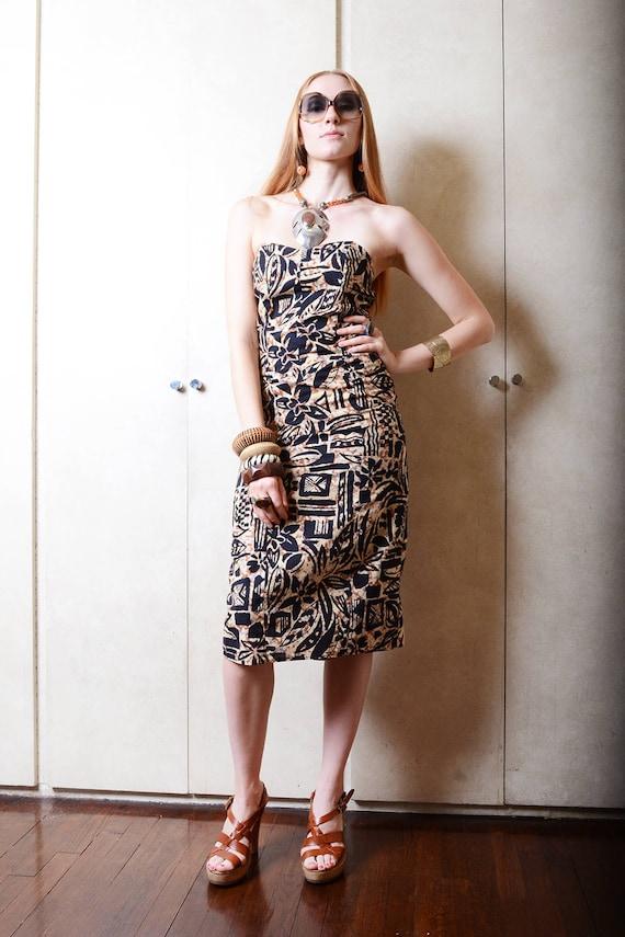 Vintage Strapless Jungle Dress