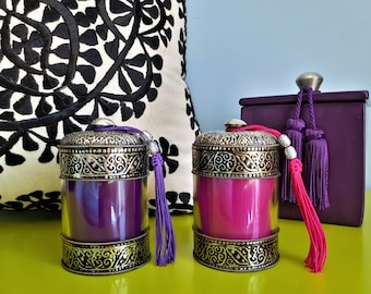 Set of 2 Moroccan candles in glass and metal - handmade
