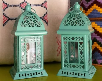 Set of 2 Moroccan lamps metal and glass - handmade