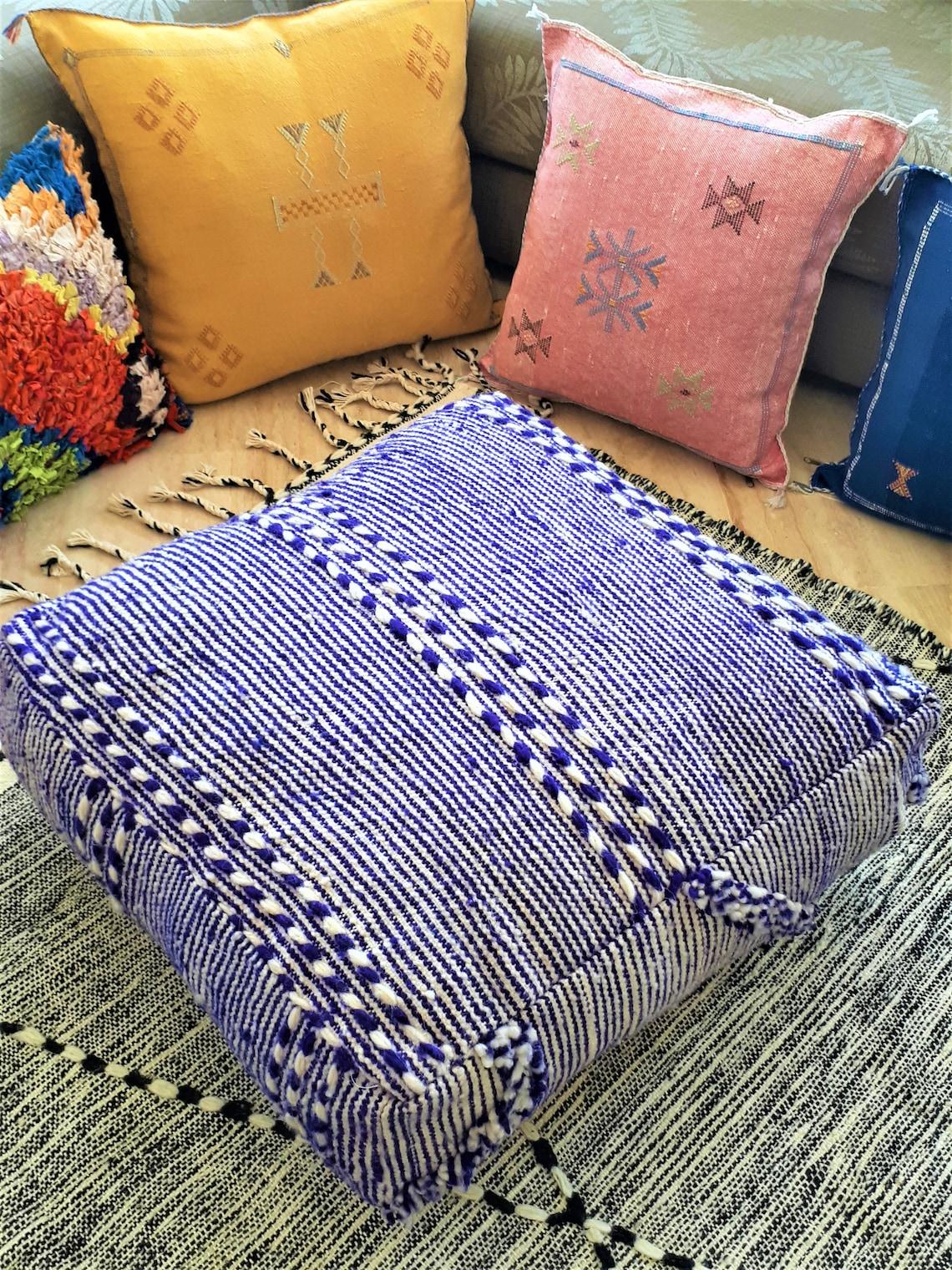 """Berber Pouf in Kilim """"Zanafi"""" in wool - Handmade"""
