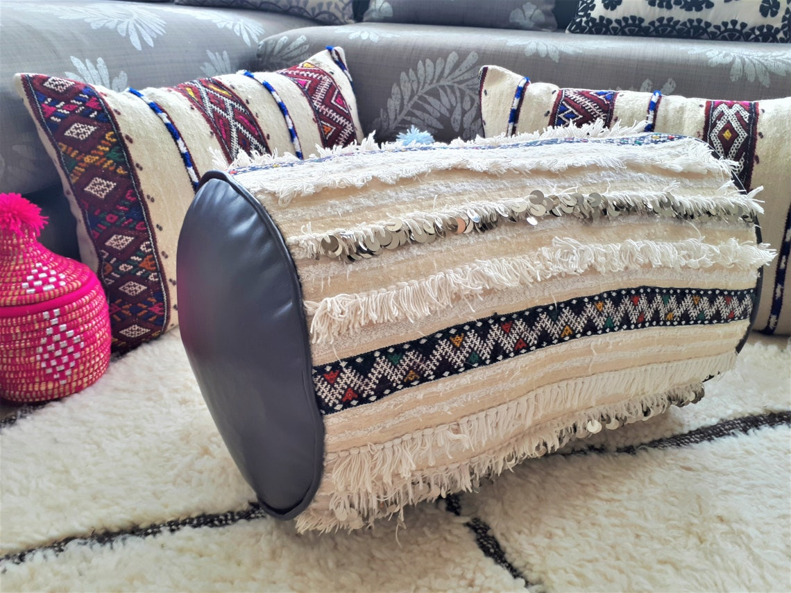 Leather Pouf/Soil Cushion and Vintage Handira - Leather, Wool and Sequins - Handmade