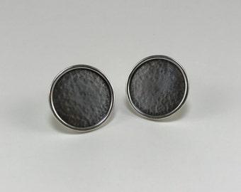 Argentium Silver Oxidized Moon Lunar Circle Post Earrings