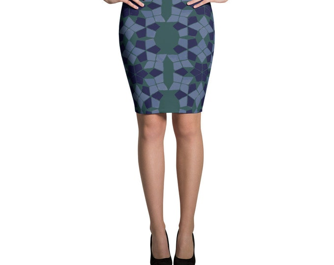 Blue and green Pencil Skirt with morocca ethnic pattern