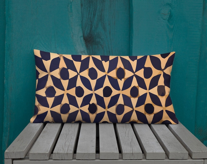 Premium Moroccan Pillow pattern style blue and white