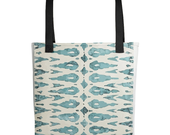 blue bohemian Tote bag vintage moroccan and berber pattern inspiration
