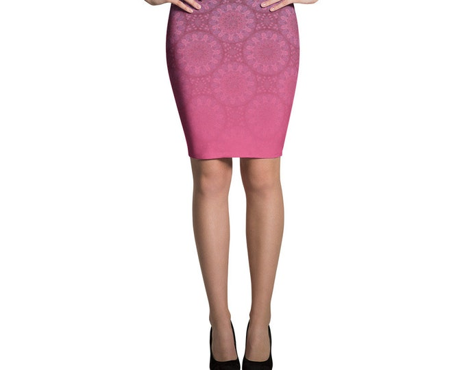 Pink Pencil Skirt ethnic style with moroccan pattern