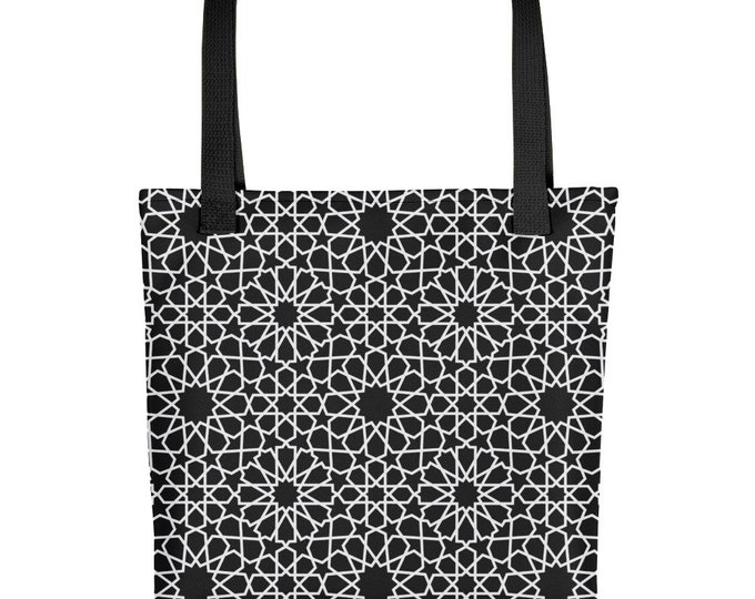 Black Tote bag Moroccan style patterns