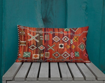 Moroccan Pillow red berber pattern inspiration vintage and bohemian
