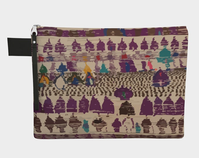 Purple bohemian zipper carry-all berber vintage and bohemian pattern