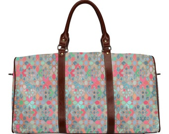 Ethnic travel bag with Moroccan multicoloured pattern boho style