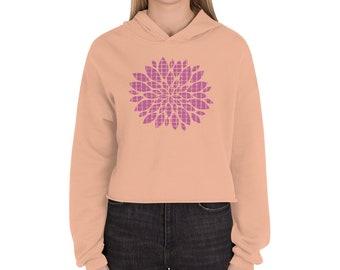 Pink flower Crop Hoodie