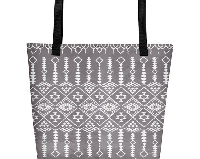 Moroccan Beach Bag grey and white original pattern