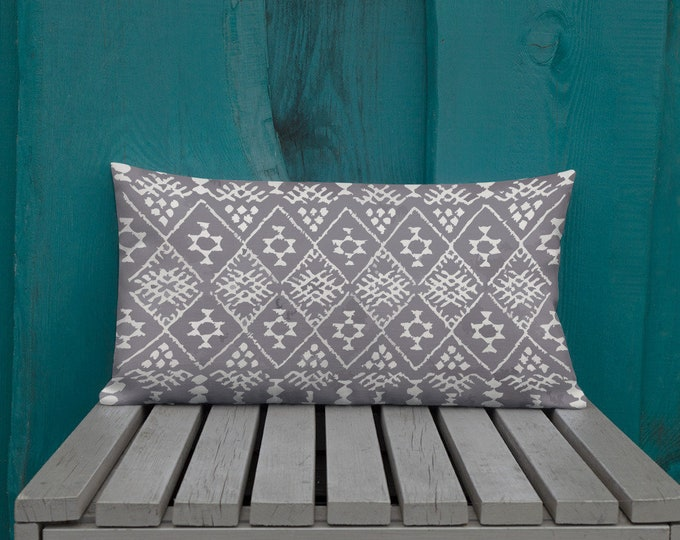 Premium berber Moroccan Pillow style grey and white