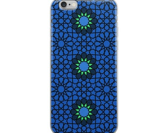 Blue iPhone Case with blue flowers and Moroccan style pattern
