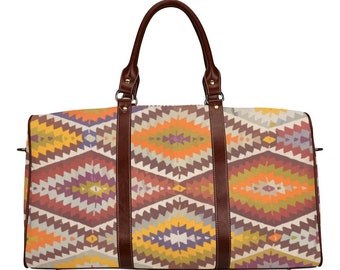 Boho travel bag with ethnic and vintage patterns Moroccan inspiration